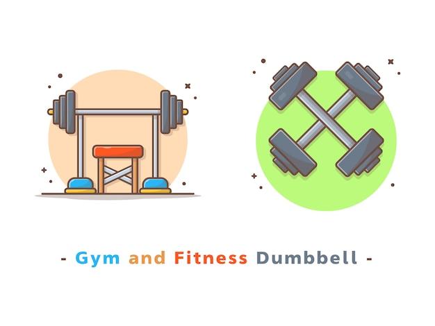 Ilustração em vetor haltere ginásio e fitness