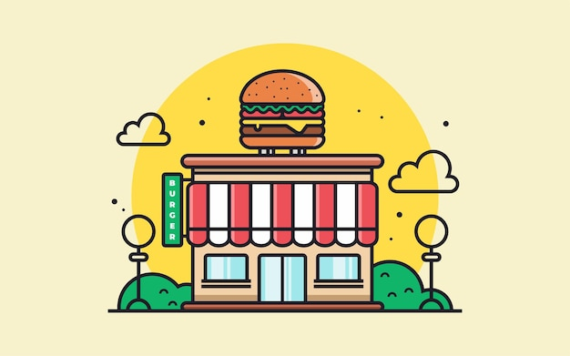 Ilustração em vetor hambúrguer ou restaurante de fast food ou café conceito de café de fast food