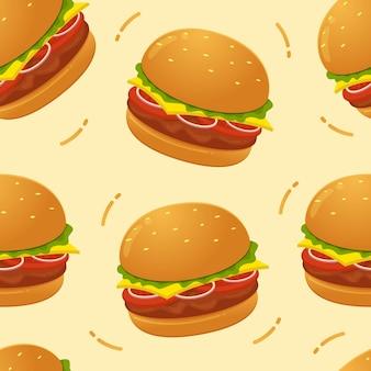Ilustração em vetor hambúrguer sem costura padrão
