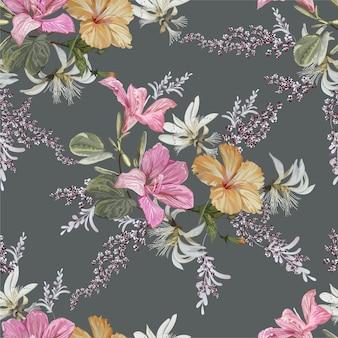 Ilustração em vetor hibicus e bauhinia flor padrão sem emenda
