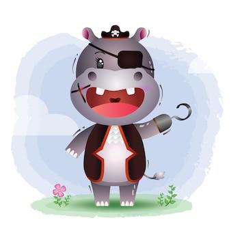 Ilustração em vetor hipopótamo piratas fofos