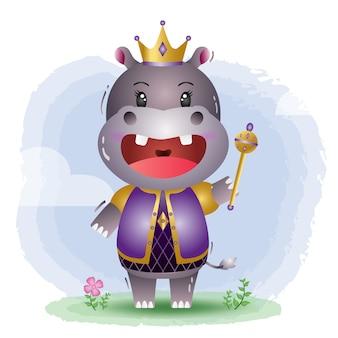 Ilustração em vetor hipopótamo rei fofo