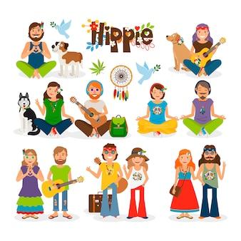 Ilustração em vetor hippie