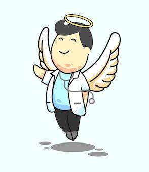 Ilustração em vetor homem médico anjo objeto