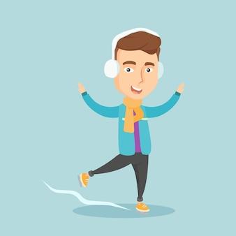 Ilustração em vetor homem patinação no gelo.