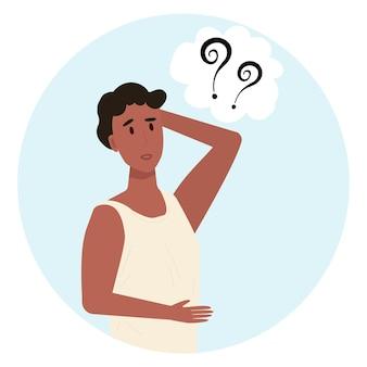 Ilustração em vetor homem pensativo. pensando ou tomando decisões em estilo cartoon. emoções de surpresa e perplexidade