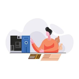 Ilustração em vetor homem reparação eletrônica sircuit computador
