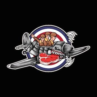 Ilustração em vetor huricane avião carne três homem