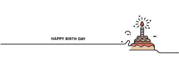 Ilustração em vetor ícone bolo de aniversário. bolo de feliz aniversário para a festa de aniversário com velas.