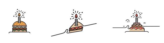 Ilustração em vetor ícone bolo de aniversário bolo de feliz aniversário para a festa de aniversário com velas