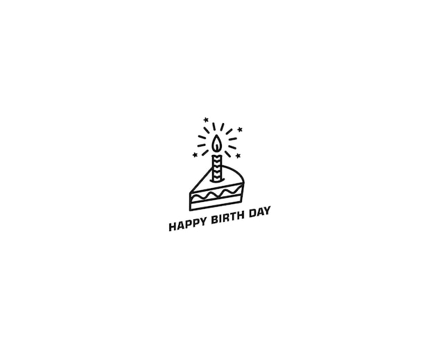 Ilustração em vetor ícone bolo de aniversário. feliz aniversário. bolo para festa de aniversário com velas.