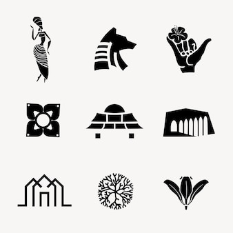 Ilustração em vetor ícone bw para conjunto de marca