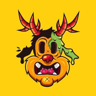 Ilustração em vetor ícone cabeça de monstro zumbi