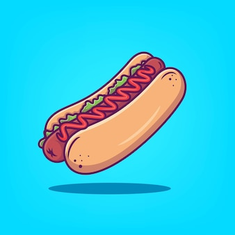 Ilustração em vetor ícone cachorro-quente desenhada à mão