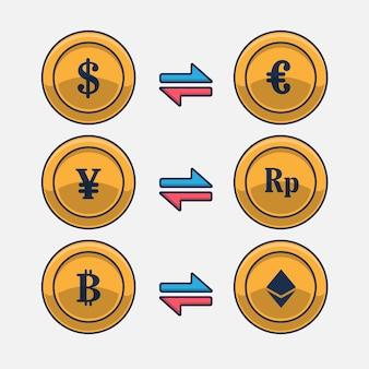 Ilustração em vetor ícone câmbio entre moedas