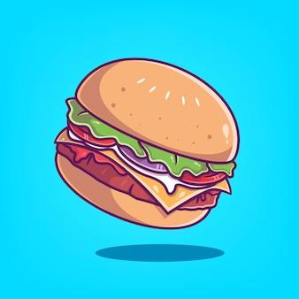 Ilustração em vetor ícone de hambúrguer desenhado à mão