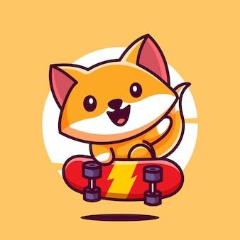 Ilustração em vetor ícone de um filhote de desenho animado de raposa skateboarding