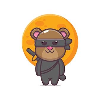 Ilustração em vetor ícone desenho animado urso bonito ninja