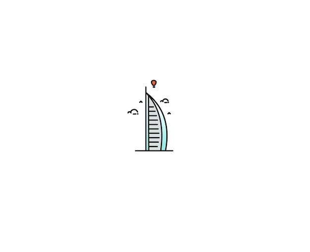 Ilustração em vetor ícone dubai burj al arab linha plana arte.