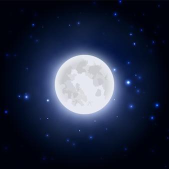 Ilustração em vetor ícone lua realista no fundo do céu azul escuro à noite.