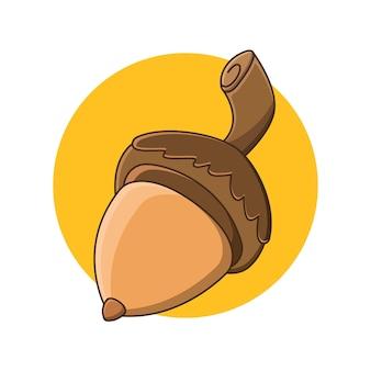 Ilustração em vetor ícone noz de carvalho bolota