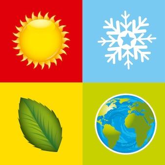 Ilustração em vetor ícones coloridos estações meteorológicas