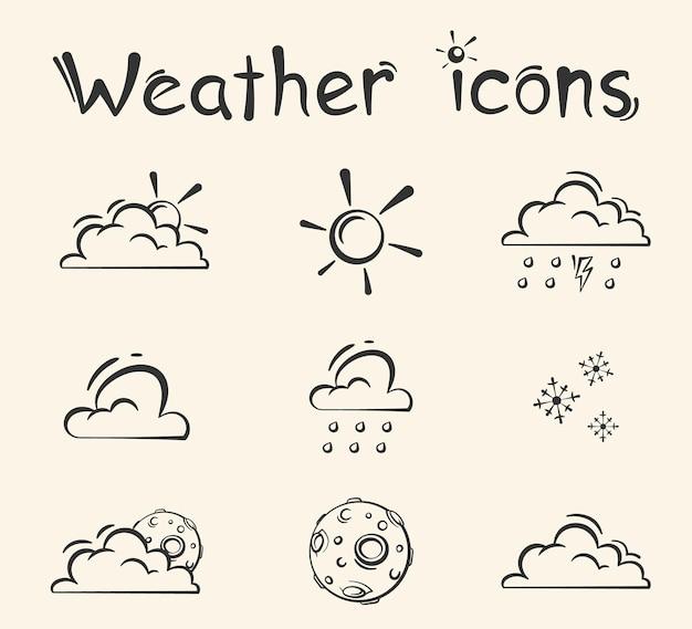 Ilustração em vetor ícones meteorológicos de estilo desenhado à mão