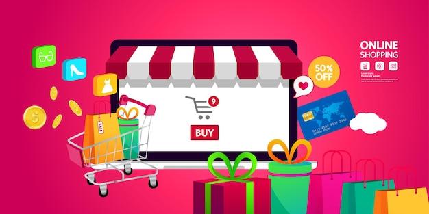 Ilustração em vetor ideia para compras online