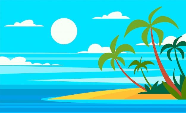 Ilustração em vetor ilha palm em estilo cartoon.