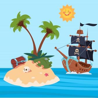 Ilustração em vetor ilha piratas navio e tesouros