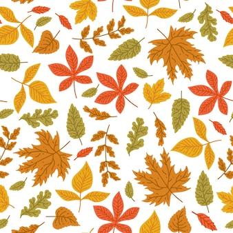Ilustração em vetor imagem papel de parede padrão sem emenda de folhas de outono