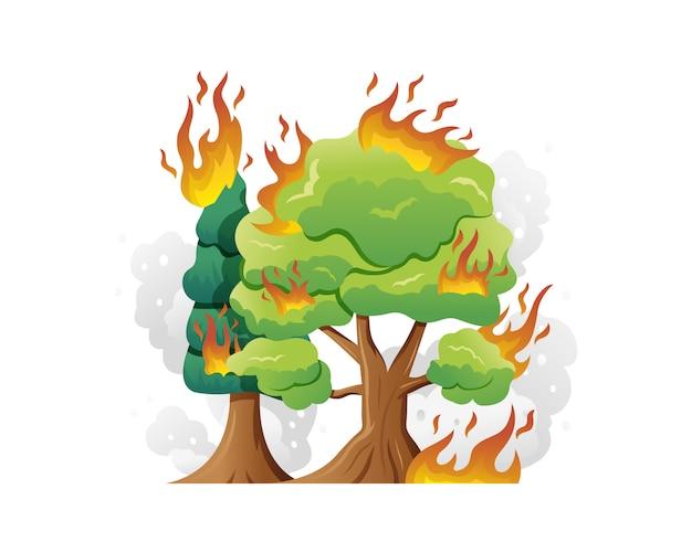 Ilustração em vetor incêndio florestal