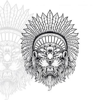 Ilustração em vetor indiano leão