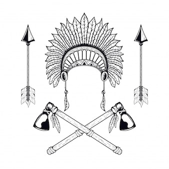 Ilustração em vetor índio americano