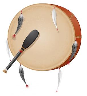 Ilustração em vetor índios americanos tamborim