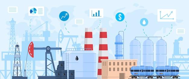 Ilustração em vetor indústria de petróleo e gás, desenho de paisagem industrial plana com planta ou fábrica de refinaria de petróleo de processamento químico
