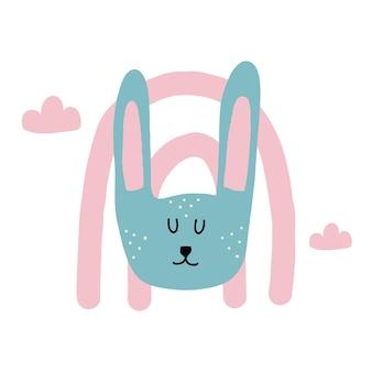 Ilustração em vetor infantil desenhada à mão de uma cabeça de coelho coelho com arco-íris e nuvens
