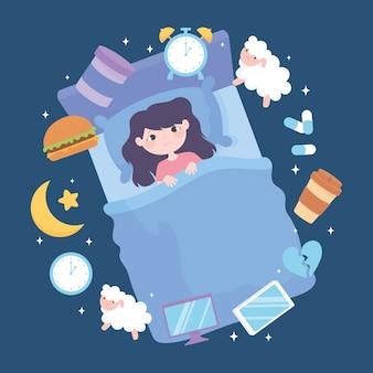 Ilustração em vetor insônia, distúrbio do sono feminino, que provoca refeições pesadas, medicamentos, cafeína e hábitos de sono insatisfatórios.