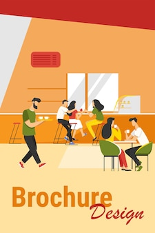 Ilustração em vetor interior cafeteria. rapazes e moças bebendo café nas mesas ou no balcão. imagem de café moderno para cantina ou conceito de catering