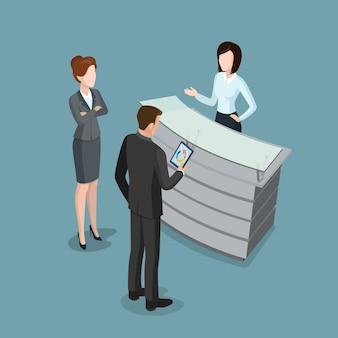Ilustração em vetor interior de recepção plana isométrica pessoas de negócios no escritório trabalham empresária