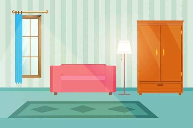 Ilustração em vetor interior do quarto familiar.