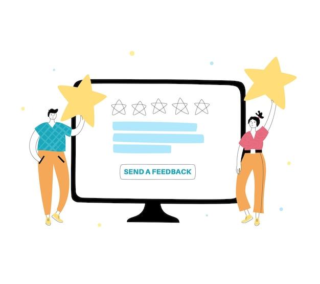 Ilustração em vetor isolada de clientes escolhendo o índice de satisfação e deixando a avaliação.