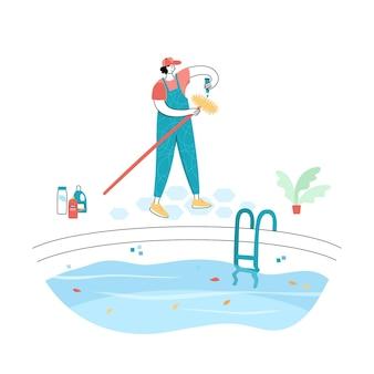 Ilustração em vetor isolada de homem escovando as paredes de uma piscina. trabalhador em caráter uniforme
