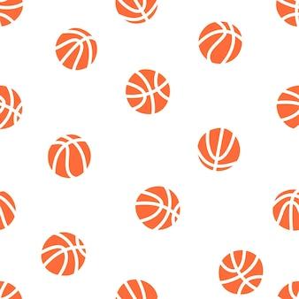 Ilustração em vetor isolada de padrão sem emenda de basquete. bolas, aro, rede.