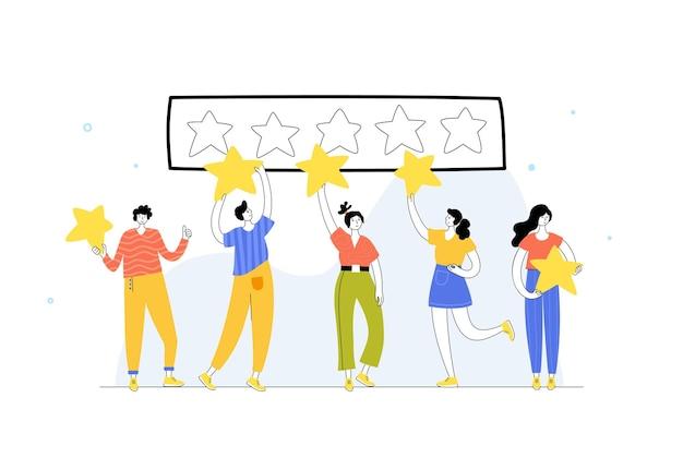 Ilustração em vetor isolada de pessoas em pé e segurando uma estrela. feedback e revisão do cliente.