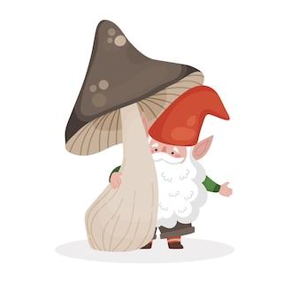 Ilustração em vetor isolada de um pequeno gnomo barbudo sob um grande cogumelo marrom