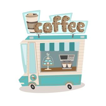 Ilustração em vetor isolada de uma lanchonete sobre rodas food truck com máquina de café e muffins