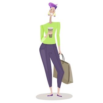 Ilustração em vetor isolada de uma personagem mulher segurando pacotes com comida na mão