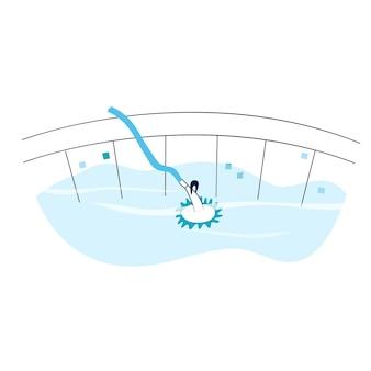 Ilustração em vetor isolada do aspirador de pó de tipo de sucção automatizada de piscina.