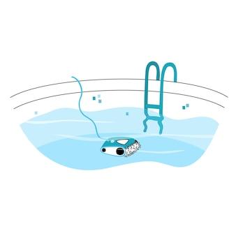 Ilustração em vetor isolada do aspirador de pó tipo robótico automatizado de piscina.